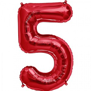 "34"" Red Number  ""5""  Five Foil Balloon"
