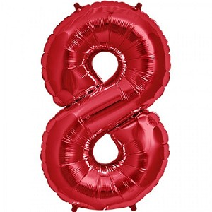 "34"" Red Number  ""8""  Eight Foil Balloon"