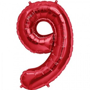 "34"" Red Number  ""9""  Nine Foil Balloon"