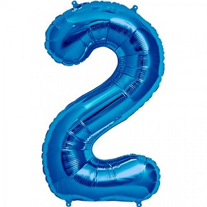"34"" Blue Number  ""2""  Two Foil Balloon"