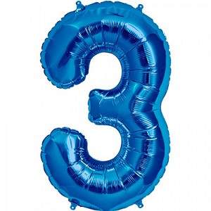 "34"" Blue Number  ""3""  Three Foil Balloon"
