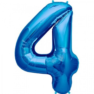 "34"" Blue Number  ""4""  Four Foil Balloon"
