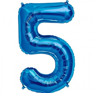 "34"" Blue Number  ""5""  Five Foil Balloon"