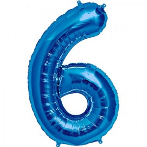 "34"" Blue Number  ""6""  Six Foil Balloon"
