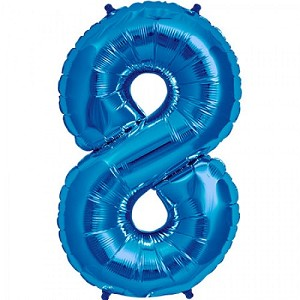 "34"" Blue Number  ""8""  Eight Foil Balloon"