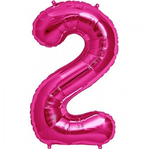 "34"" Magenta Number  ""2""  Two Foil Balloon"
