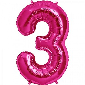 "34"" Magenta Number  ""3""  Three Foil Balloon"
