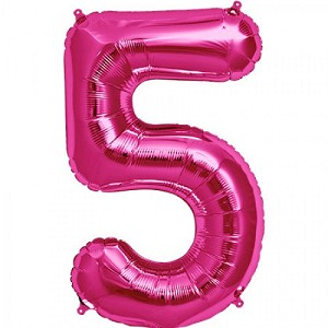 "34"" Magenta Number  ""5""  Five Foil Balloon"