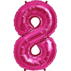 "34"" Magenta Number  ""8""  Eight Foil Balloon"