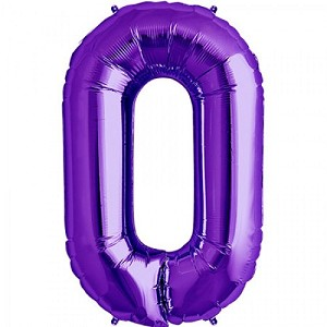"34"" Purple Number  ""0""  Zero Foil Balloon"