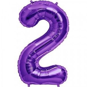 "34"" Purple Number  ""2""  Two Foil Balloon"