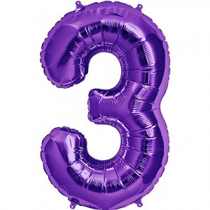 "34"" Purple Number  ""3""  Three Foil Balloon"