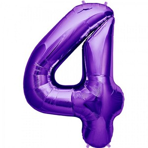 "34"" Purple Number  ""4""  Four Foil Balloon"