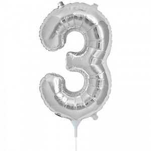 "16"" Silver Number  ""3""  Three Foil Balloon"