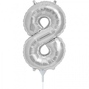 "16"" Silver Number  ""8""  Eight Foil Balloon"
