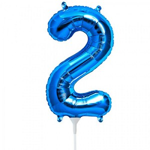 "16"" Blue Number  ""2""  Two Foil Balloon"