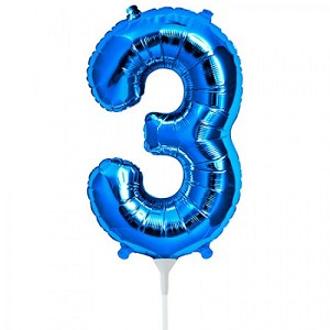"16"" Blue Number  ""3""  Three Foil Balloon"
