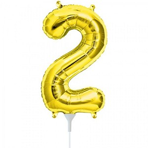 "16"" Gold Number  ""2""  Two Foil Balloon"