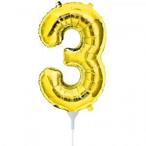 "16"" Gold Number  ""3""  Three Foil Balloon"
