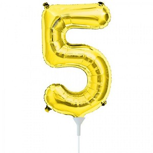 "16"" Gold Number  ""5""  Five Foil Balloon"