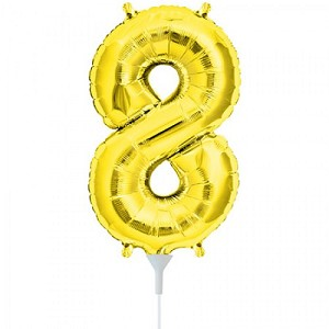 "16"" Gold Number  ""8""  Eight Foil Balloon"